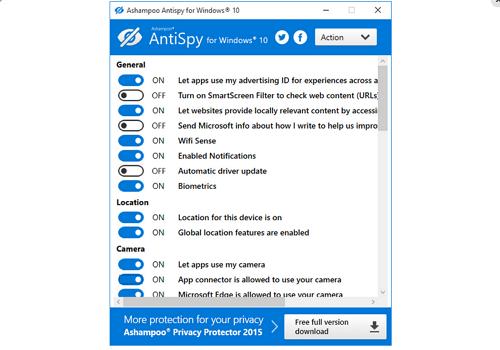 Capture d'écran Ashampoo Antispy for Windows 10