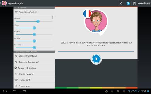 Capture d'écran Voix Agnès (français)