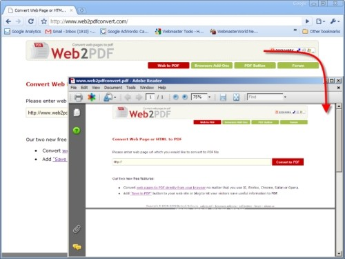 Capture d'écran Web2PDF Converter