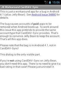 Capture d'écran JB Workaround CardDAV-Sync