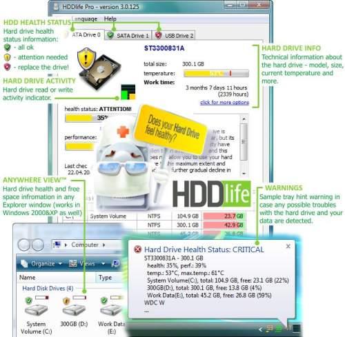 Capture d'écran HDDlife Pro