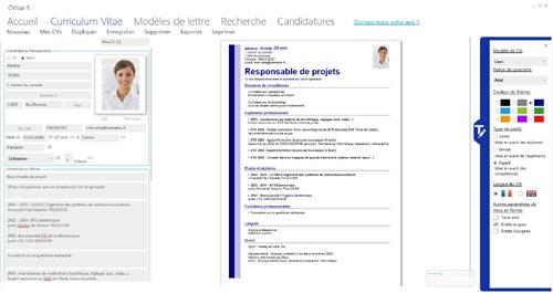 Capture d'écran CVitae Version 5