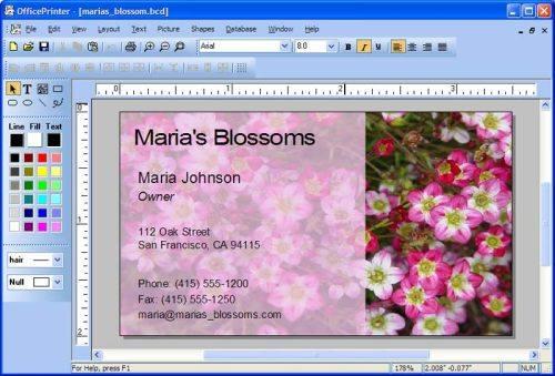 Capture d'écran OfficePrinter Business Card Software