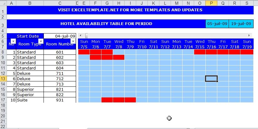 Capture d'écran Planning hôtel Excel