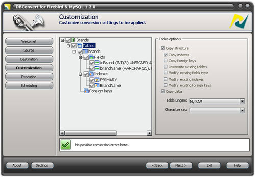 Capture d'écran DBConvert for Firebird and MySQL