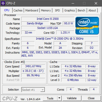 Capture d'écran CPU-Z