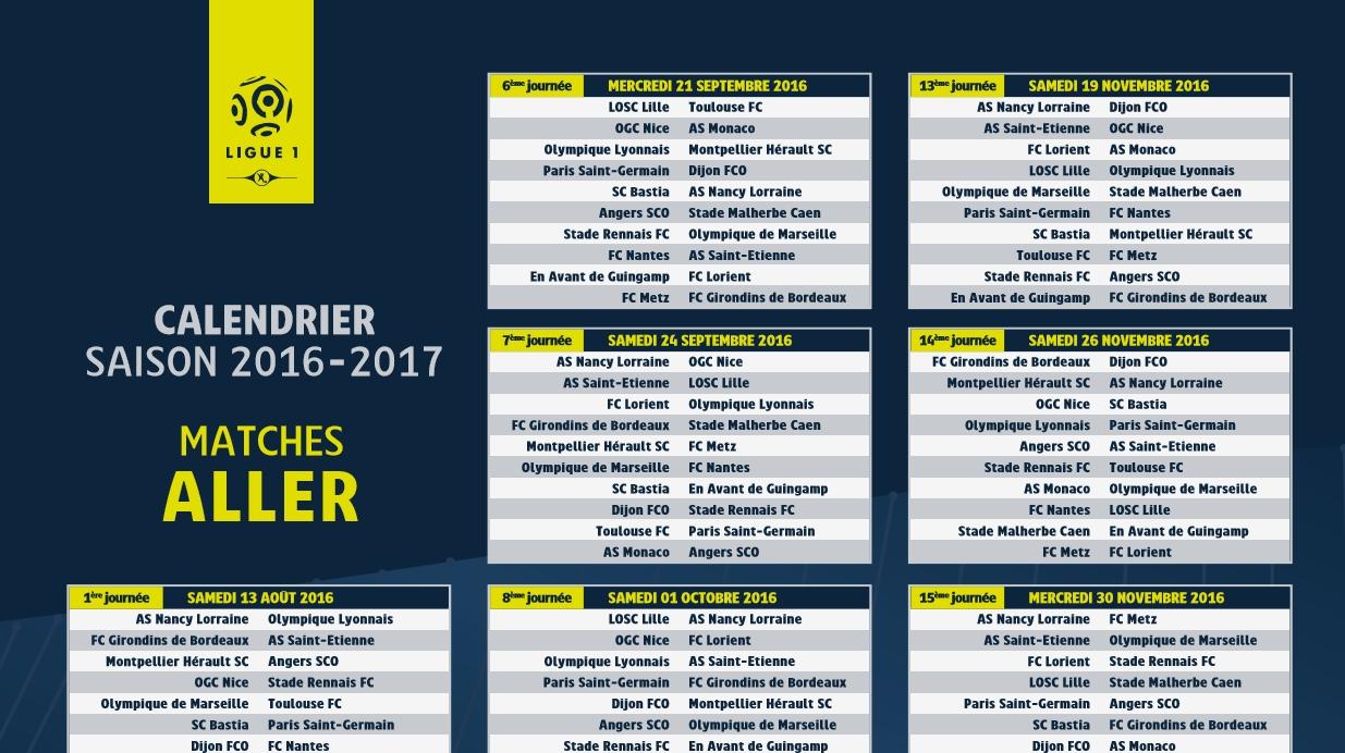 Capture d'écran Calendrier Ligue 1 2016-2017
