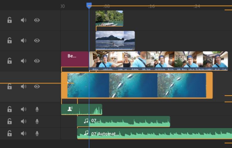 Capture d'écran Adobe Project Rush sur Mac