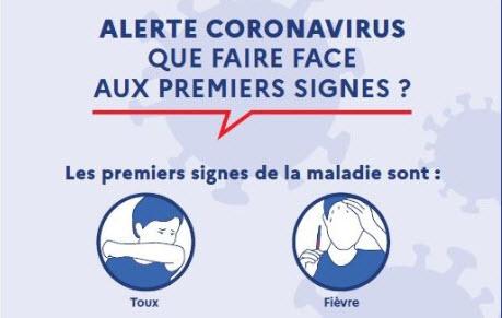 Capture d'écran Affiche prévention Coronavirus – Premiers signes