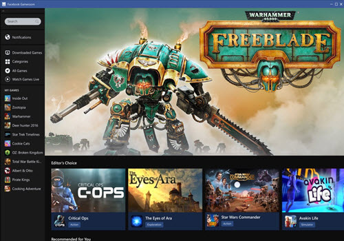 Capture d'écran Facebook Gameroom