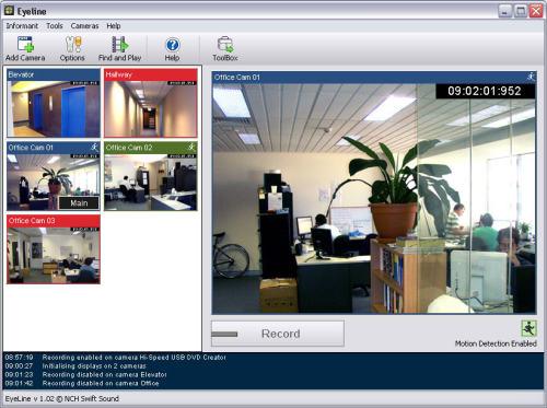 Capture d'écran EyeLine Video Surveillance Software