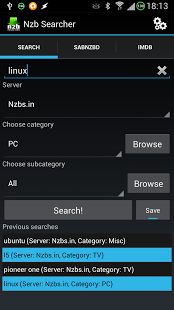 Capture d'écran Nzb Searcher (Newznab)