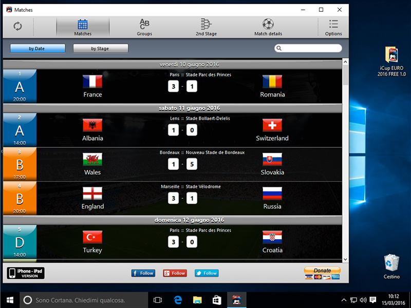 Capture d'écran iCup Euro 2016
