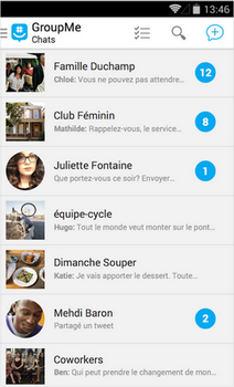 Capture d'écran GroupMe Android