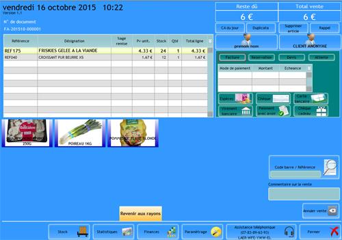 Capture d'écran EZShop – logiciel de caisse v3.0