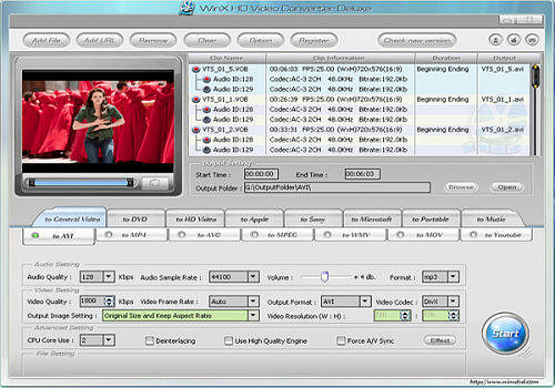 Aperçu de WinX HD Video Converter Deluxe