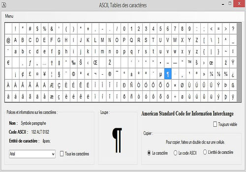 T l charger ascii table des caract res - Table de caracteres speciaux ...