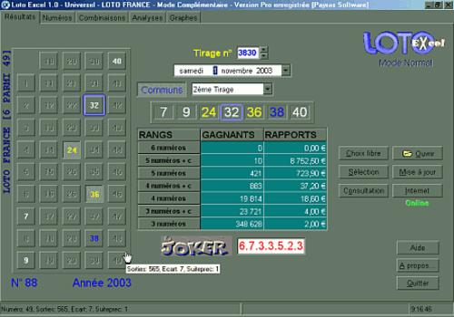 """""""Loto Excel Universel"""" avec d'autre logiciels Loto Excel / Loto"""