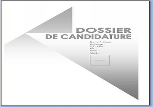de candidature / Pack 7 Modèles De Documents / Page de garde dossier