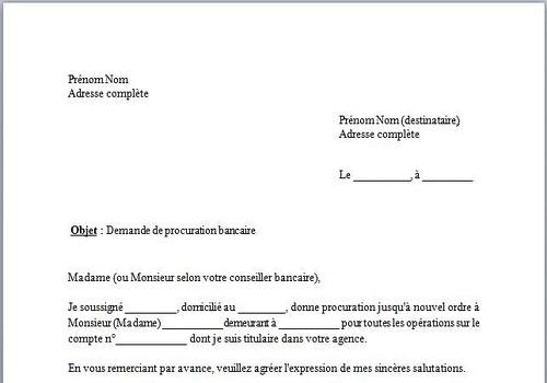 Exemple De Lettre De Procuration Bancaire Gratuite | Covering