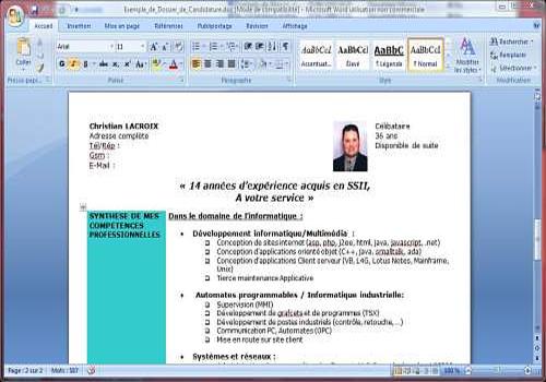 resume format  cv sous forme de lettre