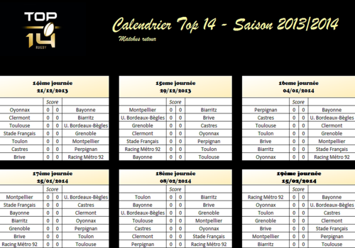 Calendrier Top 14 Rugby.Top 14 Rugby 2013 Related Keywords Suggestions Top 14