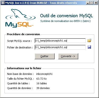 Capture d'écran MySQL Iso