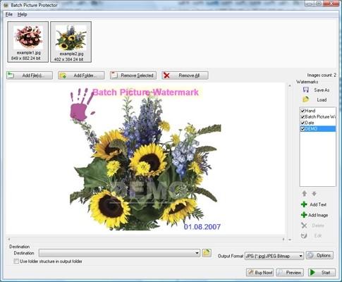 Capture d'écran SoftOrbits Batch Watermark Images