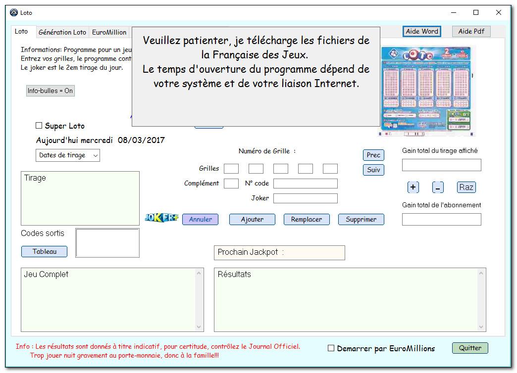 Capture d'écran LotoEuro