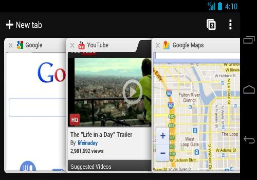 Capture d'écran Google Chrome Beta Android