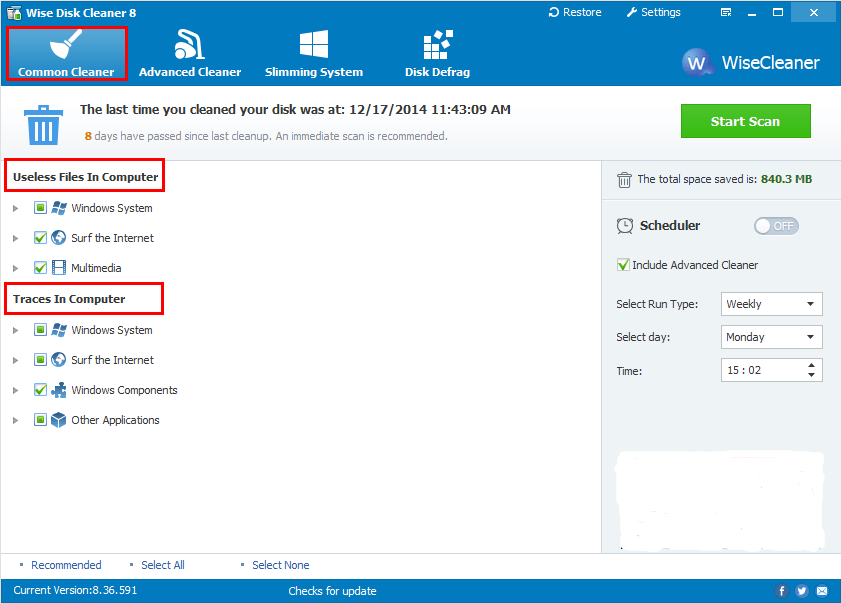 Capture d'écran Wise Disk Cleaner