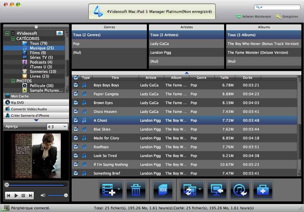 Capture d'écran 4Videosoft Mac iPad 3 Manager Platinum