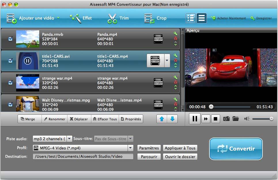 Capture d'écran Aiseesoft MP4 Convertisseur pour Mac
