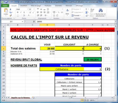 Capture d'écran Calcul simplifié de l'Impot sur le revenu