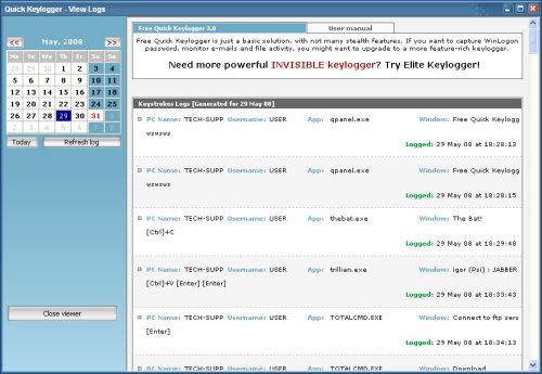 Capture d'écran Quick Free Keylogger