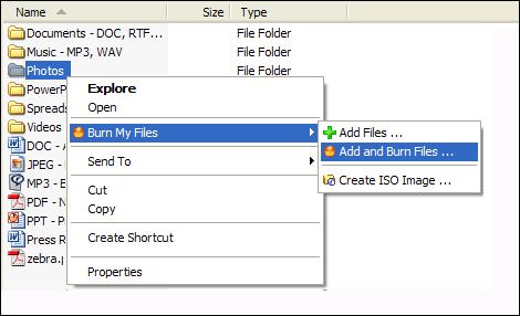 Capture d'écran Burn My Files