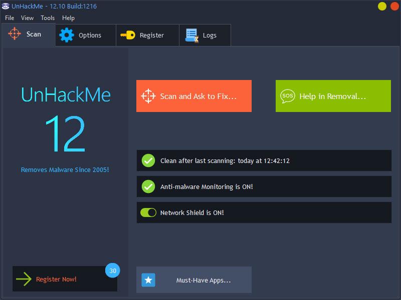 Capture d'écran UnHackMe