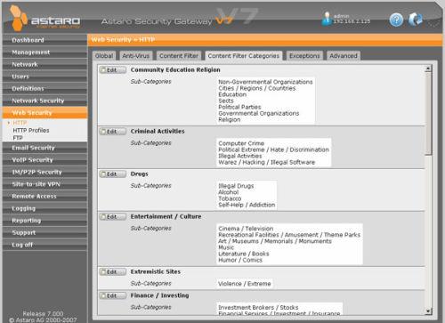Capture d'écran Astaro Security Gateway Virtual Appliance