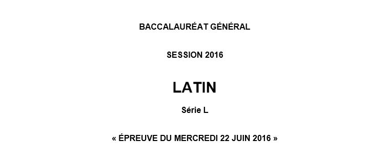 Capture d'écran Bac 2016 Latin – L