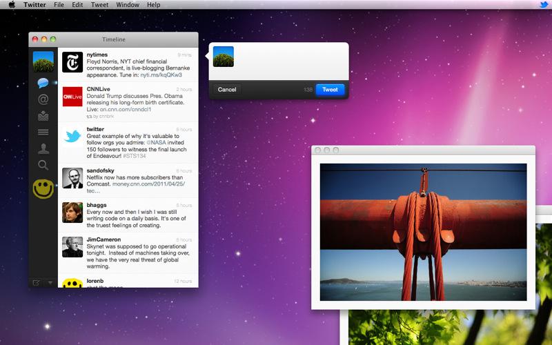 Capture d'écran Twitter Mac