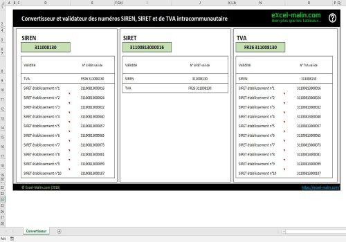 Capture d'écran Convertisseur et validateur de SIREN, SIRET et de TVA (2018)