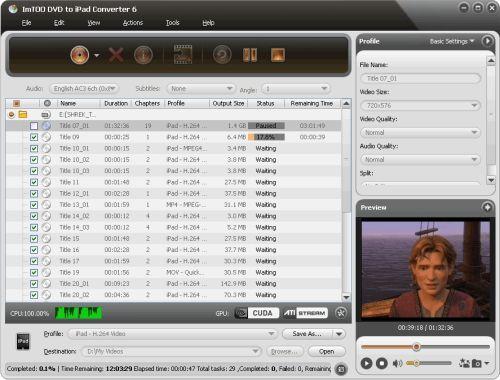 Capture d'écran ImTOO Convertir DVD pour iPad