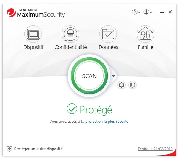 Capture d'écran Trend Micro Titanium Maximum Security