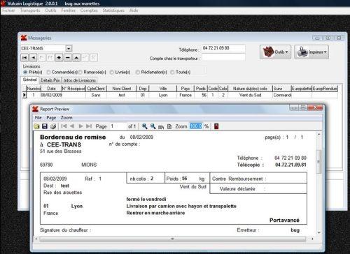 Capture d'écran Vulcain Logistique USB