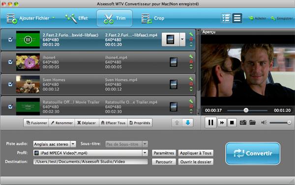 Capture d'écran Aiseesoft WTV Convertisseur pour Mac