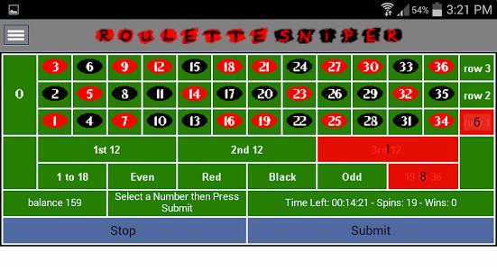 Capture d'écran Roulette Sniper