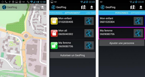 Capture d'écran GeoPing Android