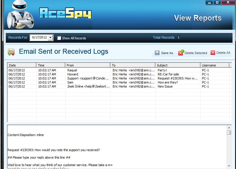 Capture d'écran AceSpy