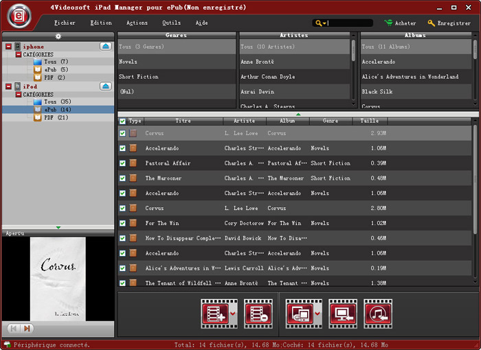 Capture d'écran 4Videosoft iPad Manager pour ePub