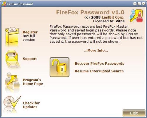 Capture d'écran LastBit FireFox Password Recovery
